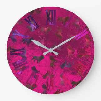 Pink Purple Lions Glass Metallic Roman Numbers Large Clock
