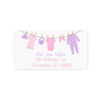 Pink & Purple Little Clothes Baby Shower Labels