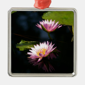 Pink Purple Lotus Waterlilies Metal Ornament