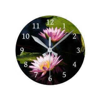 Pink Purple Lotus Waterlilies Round Clock