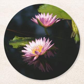 Pink Purple Lotus Waterlilies Round Paper Coaster