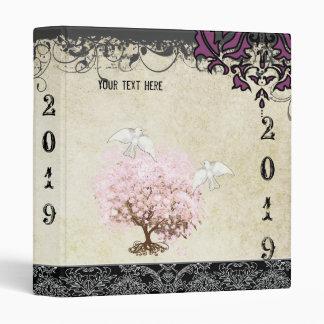 Pink Purple Love Dove Girly Girl Damask Pink Tree Binder