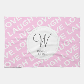 Pink Purple Love Text Pattern Towel