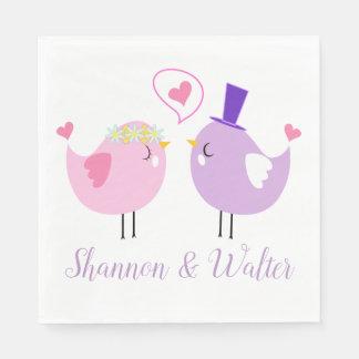Pink & Purple Lovebirds Wedding, Bridal Shower Paper Napkins
