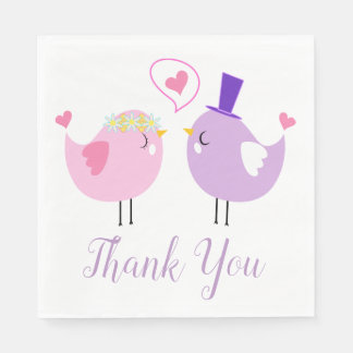 Pink & Purple Lovebirds Wedding Thank You Disposable Napkins