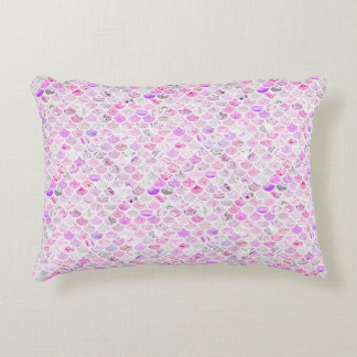 Pink & Purple Marble Mermaid Scales Accent Pillow