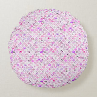 Pink & Purple Marble Mermaid Scales Round Pillow