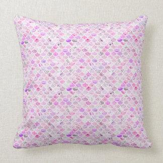 Pink & Purple Marble Mermaid Scales Throw Pillow