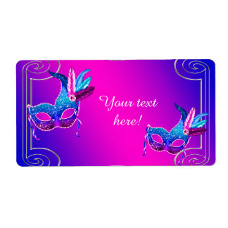 Pink Purple Masquerade Party Water Bottle Labels