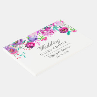 Pink Purple Mint Floral Wedding Guest Book