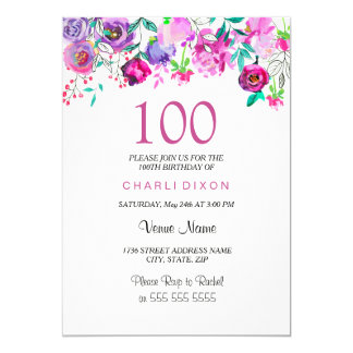 Pink Purple Mint Watercolor Flowers 100th Birthday Card