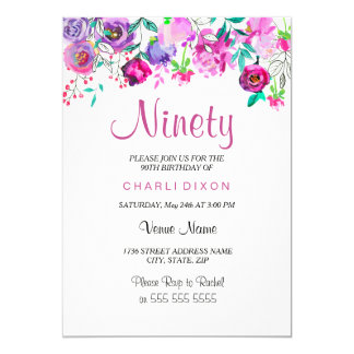 Pink Purple Mint Watercolor Flowers 90th Birthday Card