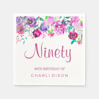 Pink Purple Mint Watercolor Flowers 90th Birthday Paper Napkin