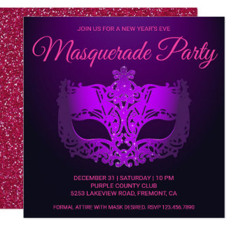 Pink Purple New Year's Eve Masquerade Party Invite