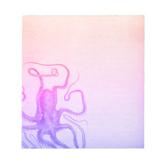 Pink Purple Octopus Ombre Steampunk Sea Notepad