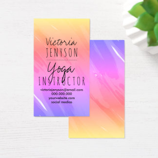 Pink purple ombre brushstrokes yoga instructor business card