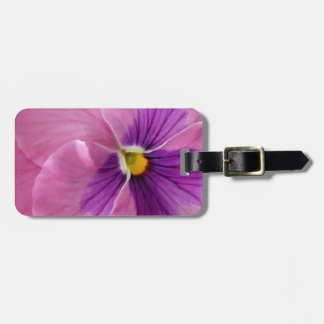 Pink Purple Pansy Flower Luggage Tag