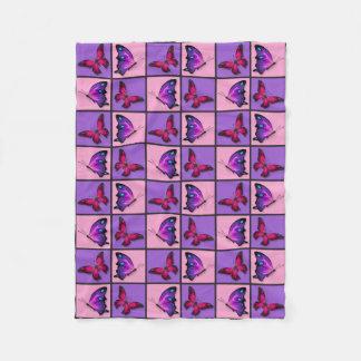 Pink & Purple Patchwork Butterflies Fleece Blanket