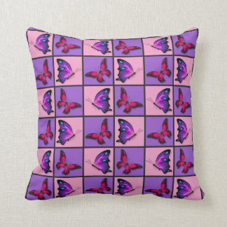 Pink & Purple Patchwork Butterflies Throw Pillow