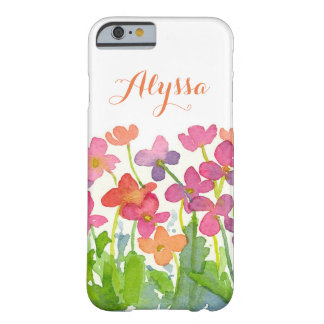 Pink Purple Peach Watercolor Flowers Monogram Barely There iPhone 6 Case