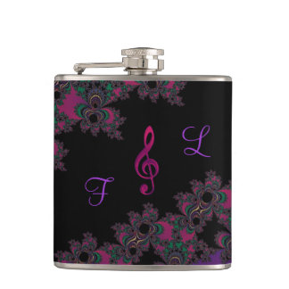 Pink Purple Personalized Music Clef Fractal Flask