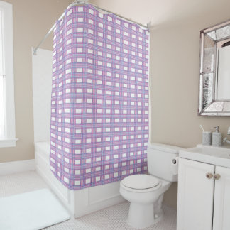 pink purple plaid shower curtain