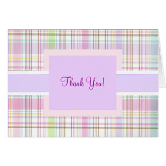 Pink Purple Plaid Thank You Greeting Card