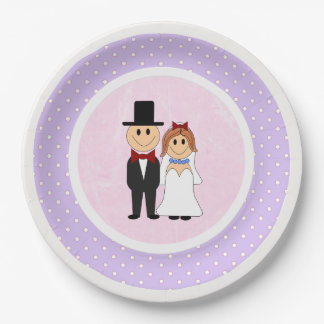 Pink & Purple Polka Dots Bride and Groom Wedding 9 Inch Paper Plate
