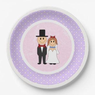 Pink & Purple Polka Dots Bride and Groom Wedding Paper Plate