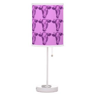 Pink & Purple Pop Art Cow Table Lamp