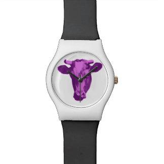 Pink & Purple Pop Art Cow Watch