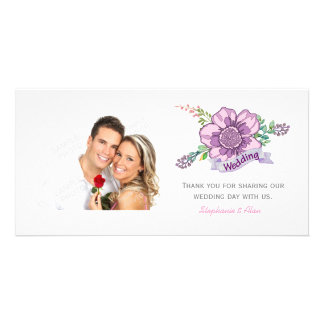 Pink Purple Poppy Wedding Thank You Photo Greeting Card