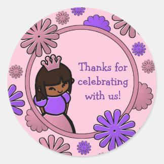 Pink & Purple Princess Birthday Favor Tags Round Stickers