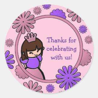 Pink & Purple Princess Birthday Favor Tags Round Sticker