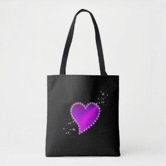 Pink Purple Rainbow Heart with Stars on black Tote Bag