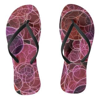 Pink_Purple_Red Pattern  Adult, Slim Straps Flip Flops