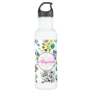 Pink purple red yellow wildflowers & roses, name 710 ml water bottle