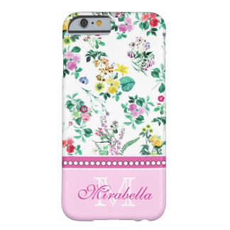 Pink purple red yellow wildflowers & roses, name barely there iPhone 6 case