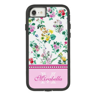 Pink purple red yellow wildflowers & roses, name Case-Mate tough extreme iPhone 8/7 case