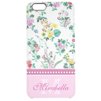 Pink purple red yellow wildflowers & roses, name clear iPhone 6 plus case