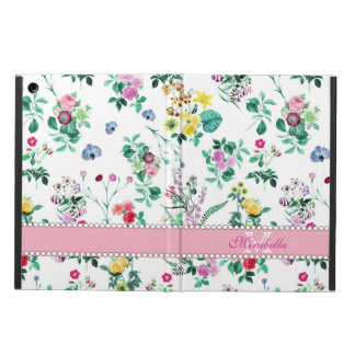 Pink purple red yellow wildflowers & roses, name iPad air cover