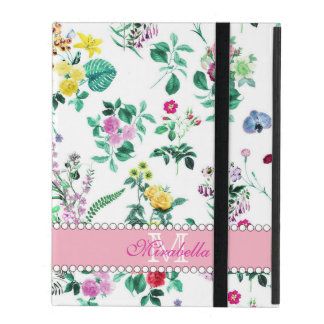 Pink purple red yellow wildflowers & roses, name iPad cover