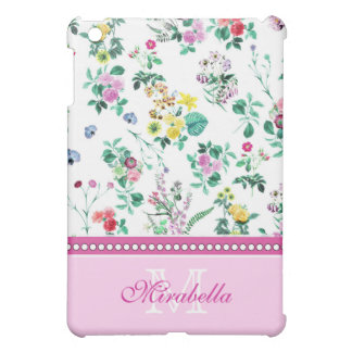 Pink purple red yellow wildflowers & roses, name iPad mini covers