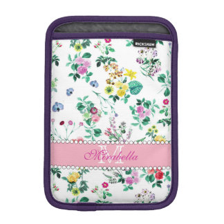 Pink purple red yellow wildflowers & roses, name iPad mini sleeve