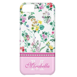 Pink purple red yellow wildflowers & roses, name iPhone 5C cases