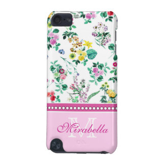 Pink purple red yellow wildflowers & roses, name iPod touch 5G cover