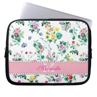 Pink purple red yellow wildflowers & roses, name laptop sleeve