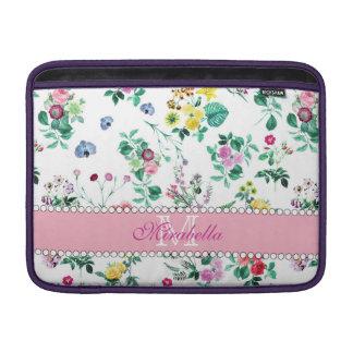 Pink purple red yellow wildflowers & roses, name MacBook sleeve