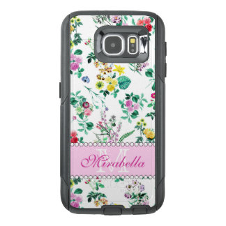 Pink purple red yellow wildflowers & roses, name OtterBox samsung galaxy s6 case