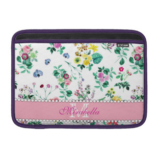 Pink purple red yellow wildflowers & roses, name sleeve for MacBook air